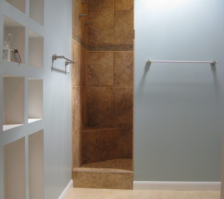 Lovely Wood Shower Door Of Walk In Tile Showers Without Doors |