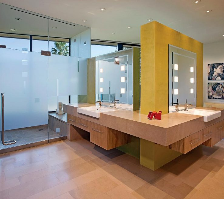 Lovely Yellow Bathrooms Of Retro Mod Bathroom With Accent Wall