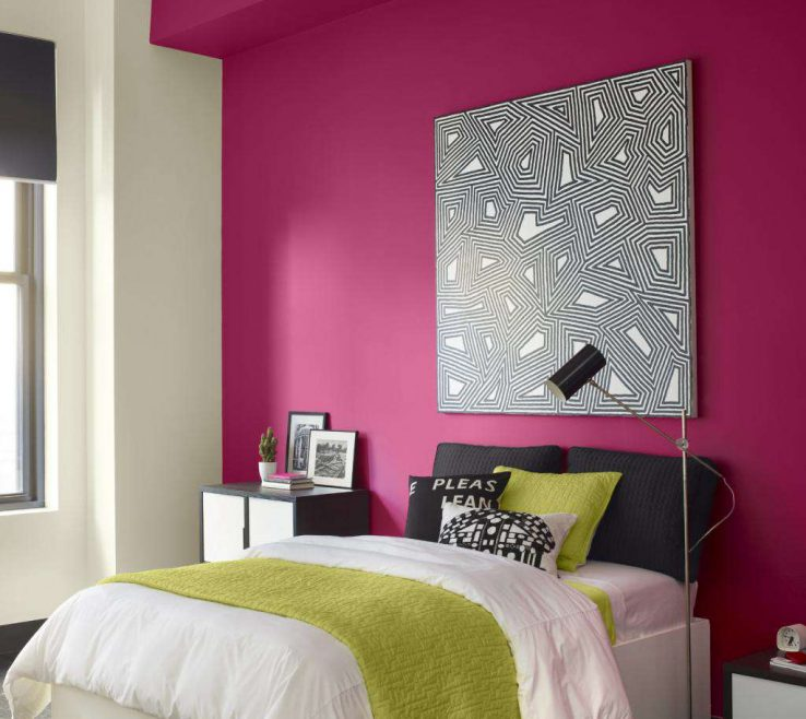 Magnificent Best Bination For Bedroom Of Beautiful Deep Pink Wall Paint White Wall