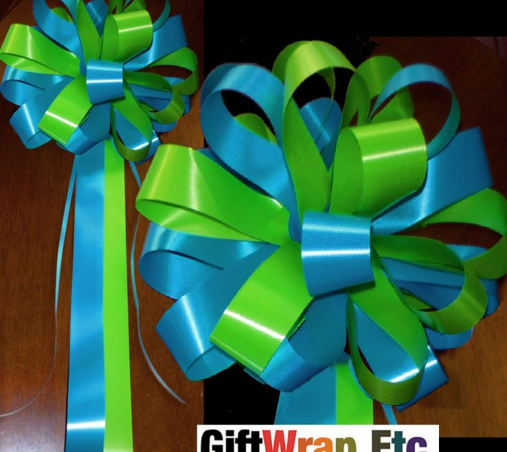 """Magnificent Green And Turquoise Decor Of 10 9"""" Lime Wedding Bows Party"""