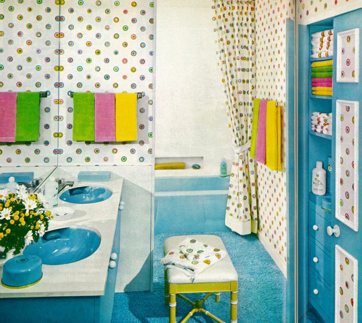 Magnificent Green And Turquoise Decor Of 1970 Home Decor, Bright, Colorful Bathroom