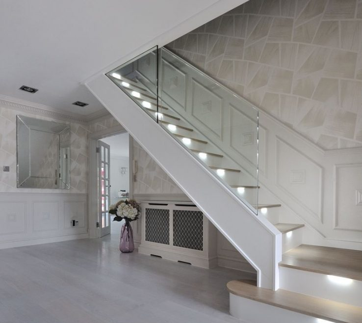 Magnificent Modern Staircase Lighting Of An Ultra Modern In Light Oak With Led