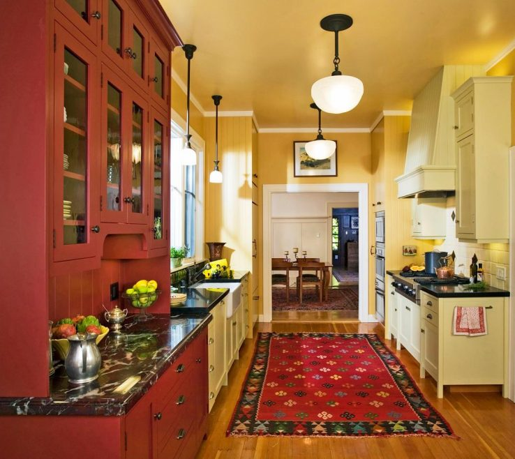 Magnificent Red And Yellow Decor Of Distressed Kitchen S With Kitchen Ideas