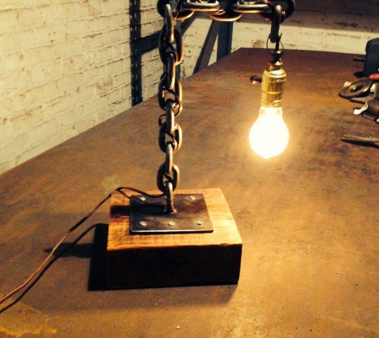 Metal Craft Ideas Of Welded Chain Desk Lamp Wwwmakerschicagoreview