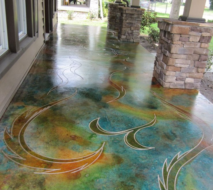 Outdoor Floor Design Of Stained Concrete My Friend Does This And