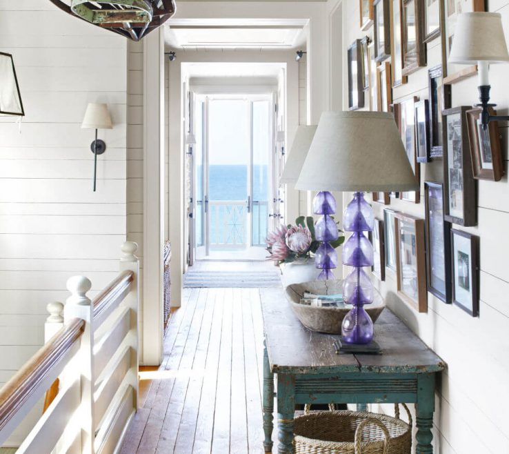 Picturesque Beach Home Interior Design Of 18. A Boardwalk Inspired Hallway To A Balcony