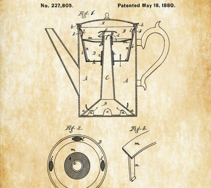 Picturesque Coffee Themed Wall Decor Of Pot Patent Print – Decor, Kitchen Decor,