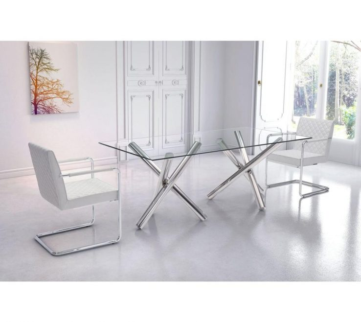 Picturesque Dining Room Tables Contemporary Design Of Zuo Stant Chrome Table