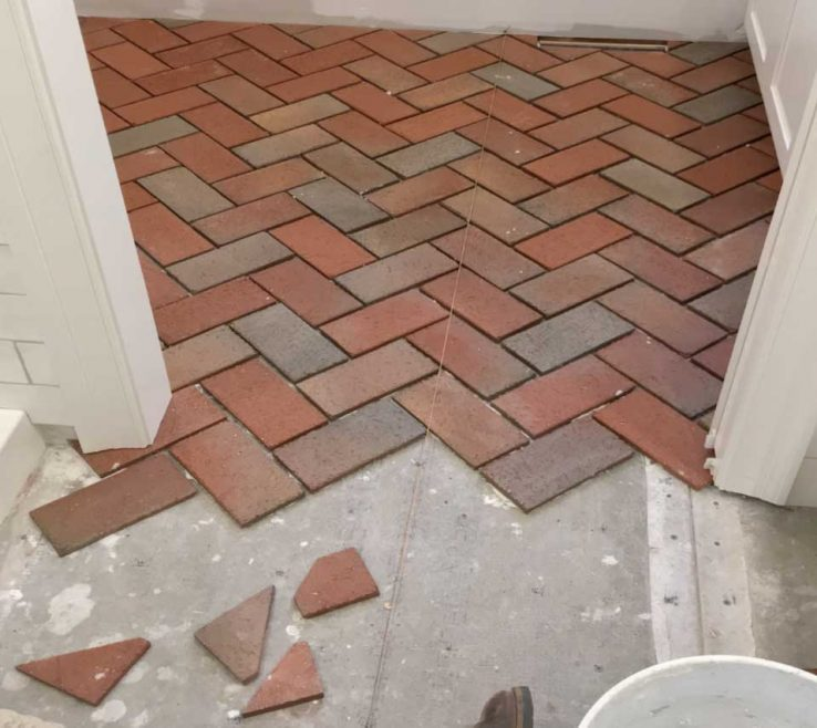 Picturesque Interior Brick Wall Tiles Of Installing Brick: Step 3) Laying Out Pavertiles