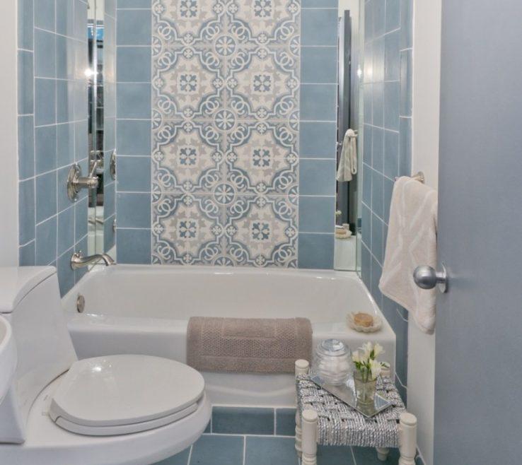 Remarkable Bathroom Tile Designs Of Beautiful Minimalist Blue Pattern Decor