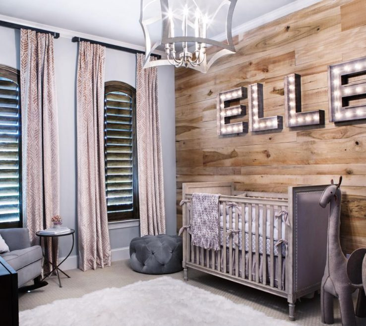 Remarkable Rustic Interior Lighting Of Neutral Nursery With Pine Accent Wall