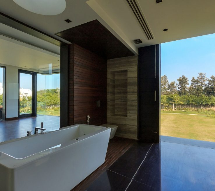 Remarkable Small Modern Bathroom Of Design With Laminate Wood Wall Covering Panels