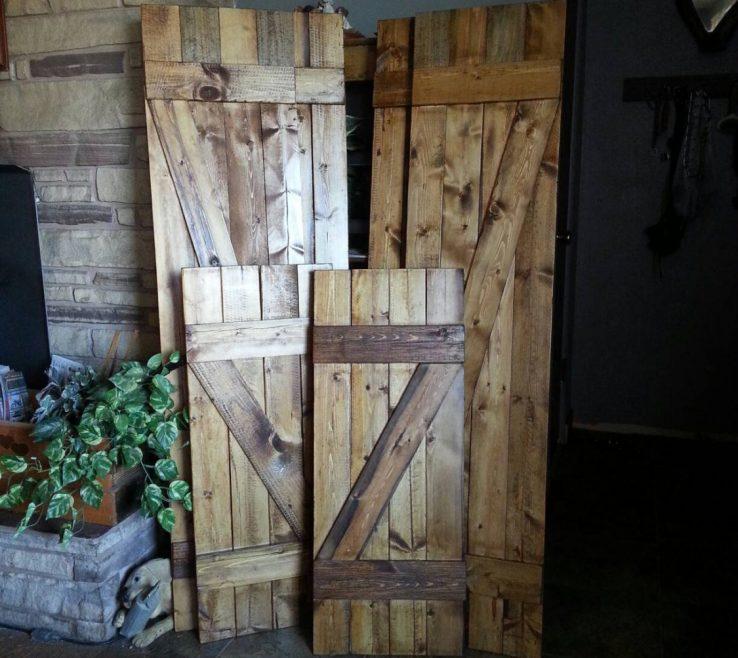 "Rustic Wood Shutters Of Z Bar 48"" Decorative Window"