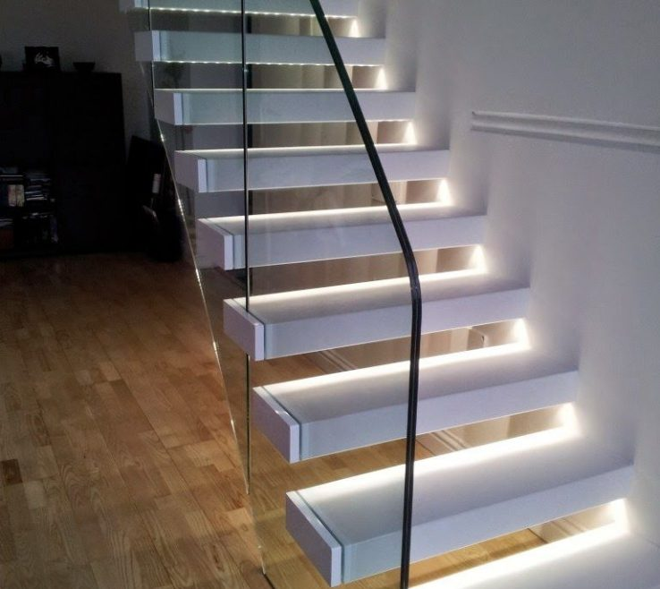 Sophisticated Modern Staircase Lighting Of Glass Panels, Railings And Designs Wall Lighting,