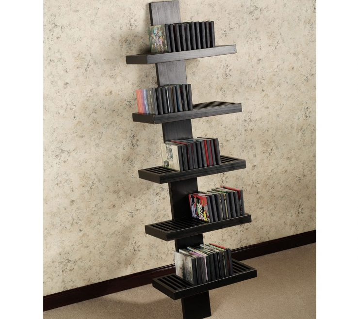 Sophisticated Unique Shelving Units Of Cool Design With Black Corner Bined