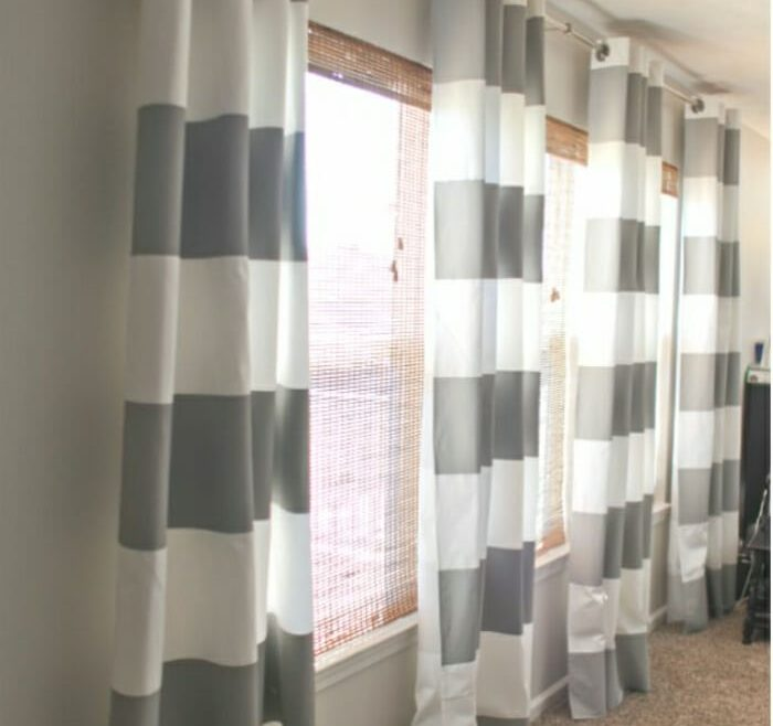 Superbealing Window Treatment Ideas For Living Room Of Big And Bold Stripes From Ceiling
