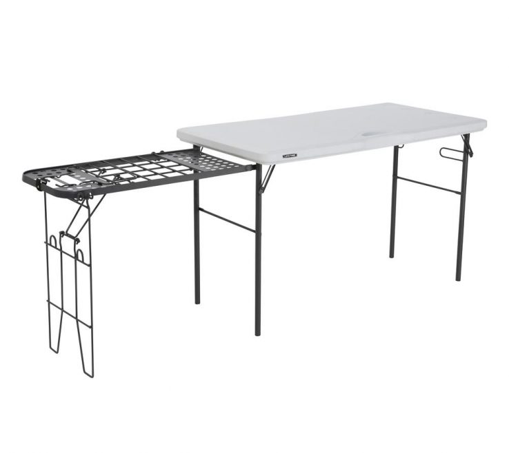 Table Collapsible Of White Granite Tailgate Folding With Metal Grill