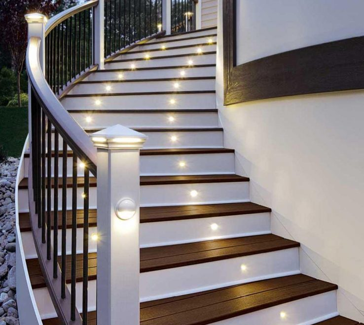 Terrific Modern Staircase Lighting Of Small Yellow Color Stair