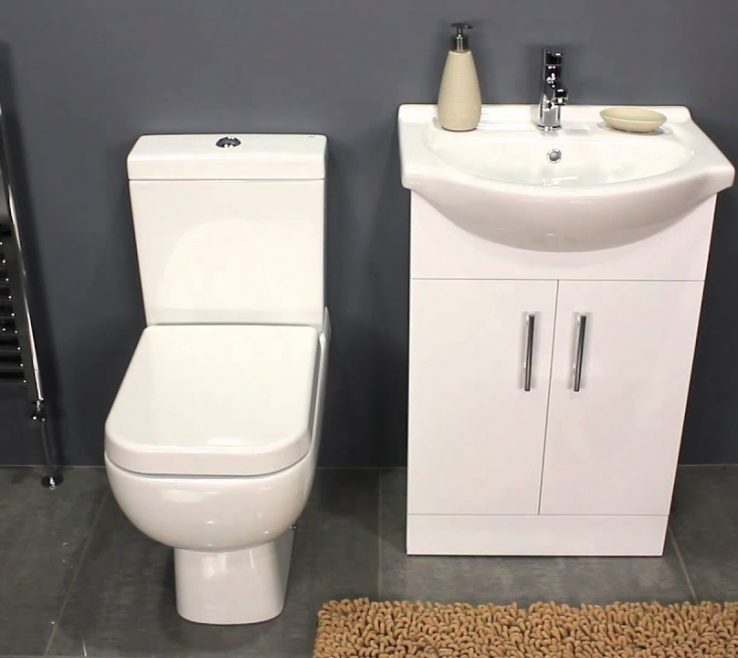 Terrific Space Saving Vanity Of Gloss White Unit Andamp Toilet For Family