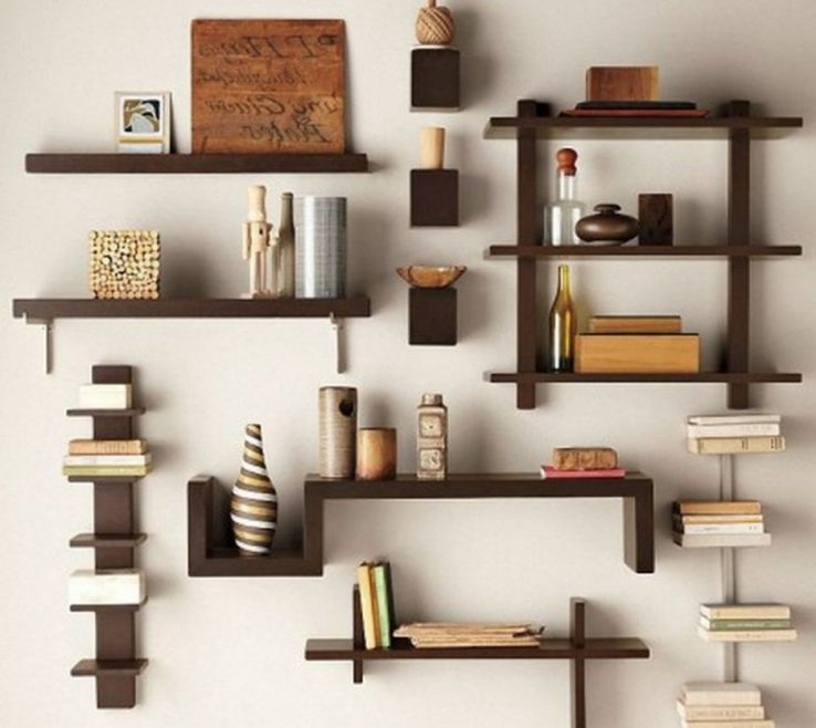 Unique Shelving Units Of Cool Wall Mounted Brown Wood Open Unit
