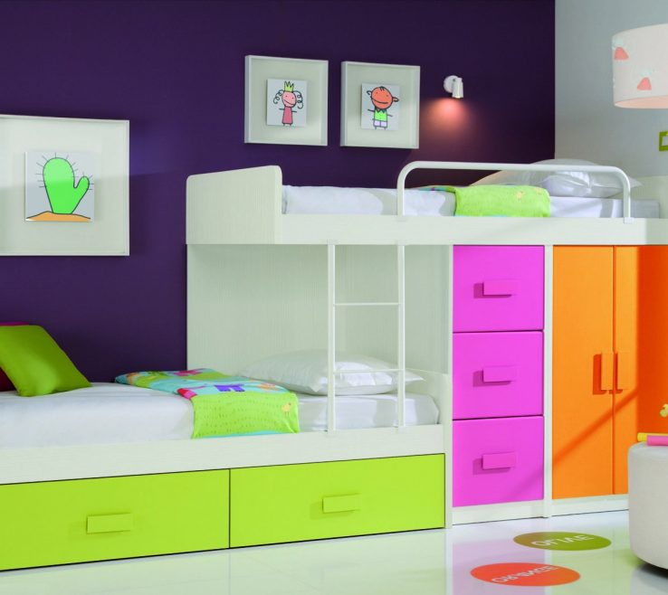 Vanity Modern Kids Storage Of Room Design Blue Cream Smooth Minimalist Laminated