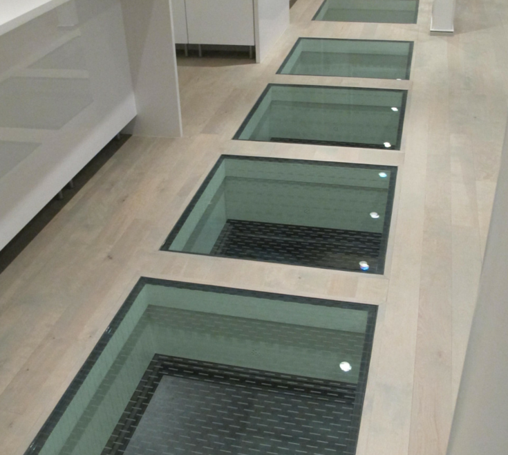 Wonderful Clear Glass Floor Tile Of Structural Panels To Connect Inside And Outside