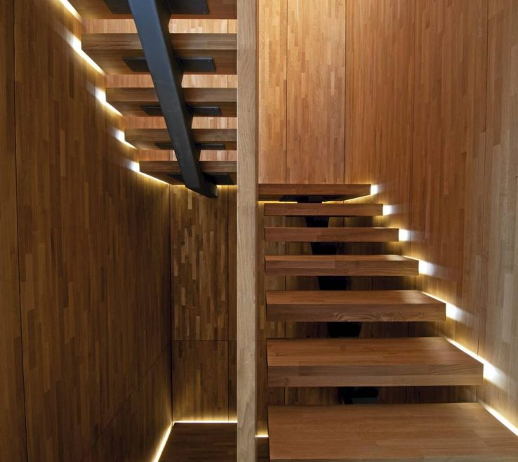 Wonderful Modern Staircase Lighting Of Light Feature