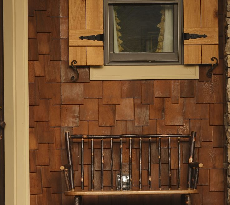 Wonderful Rustic Wood Shutters Of Traditional Porch With A Shingle Siding A