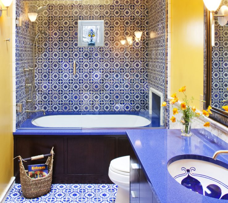 Wonderful Yellow Bathrooms Of Blue And Moroccan Inspired Guest Bathroom