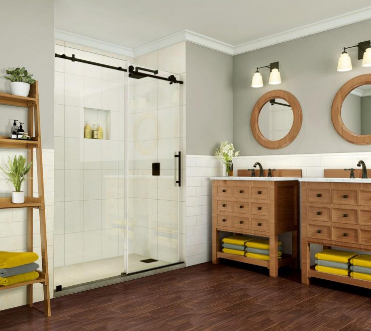 Wood Shower Door Of Aston Coraline Pure 44 In. 48