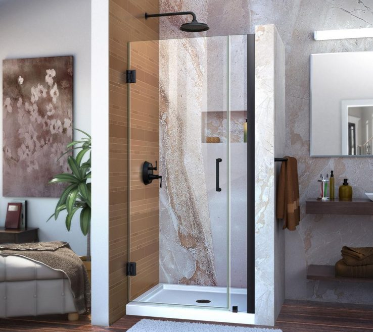 Wood Shower Door Of Dreamline Unidoor 33 To 34 In. X