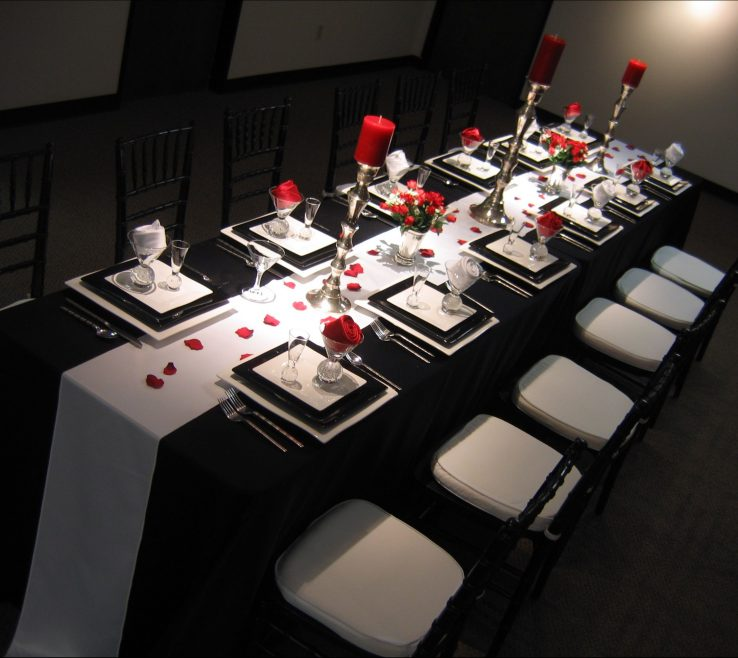 Adorable Black And White Decorating Ideas For A Party Of Wonderfull Silver Wedding Anniversary Red With Wedding