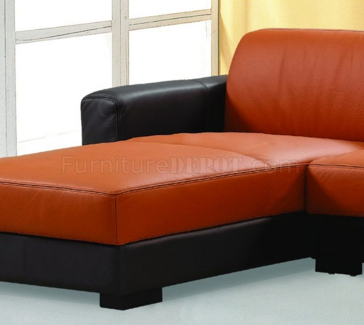 Adorable Brown And Orange Sofa