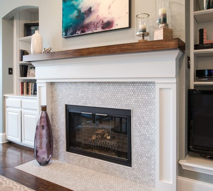 Adorable E Fireplace Designs Of White Marble With Hexagon Pattern.