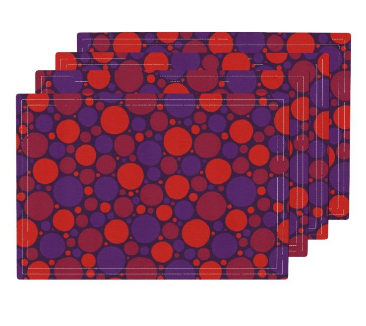 Adorable Red And Purple Home Decor Of Lamona Cloth Placemats Featuring Spots