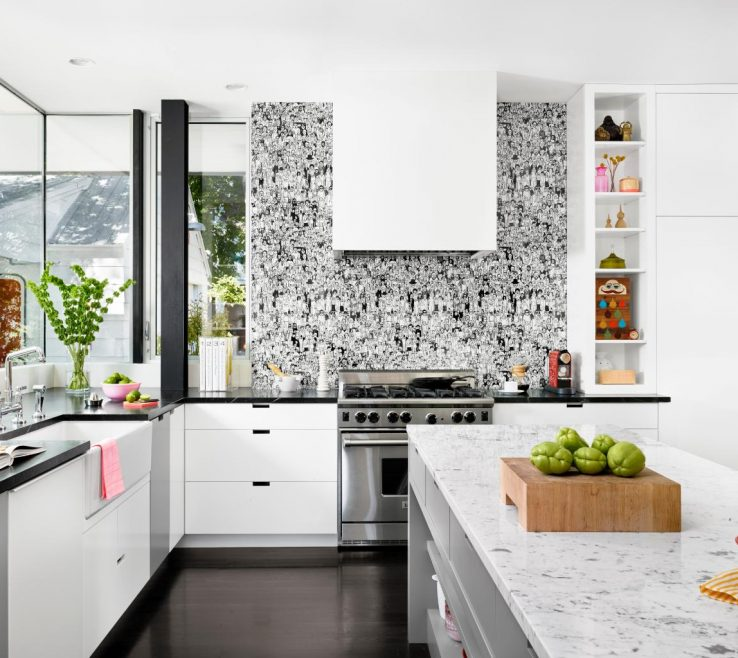 Adorable Wallpaper Designs For Kitchen Of Modern With Graphic Black And White Backsplash