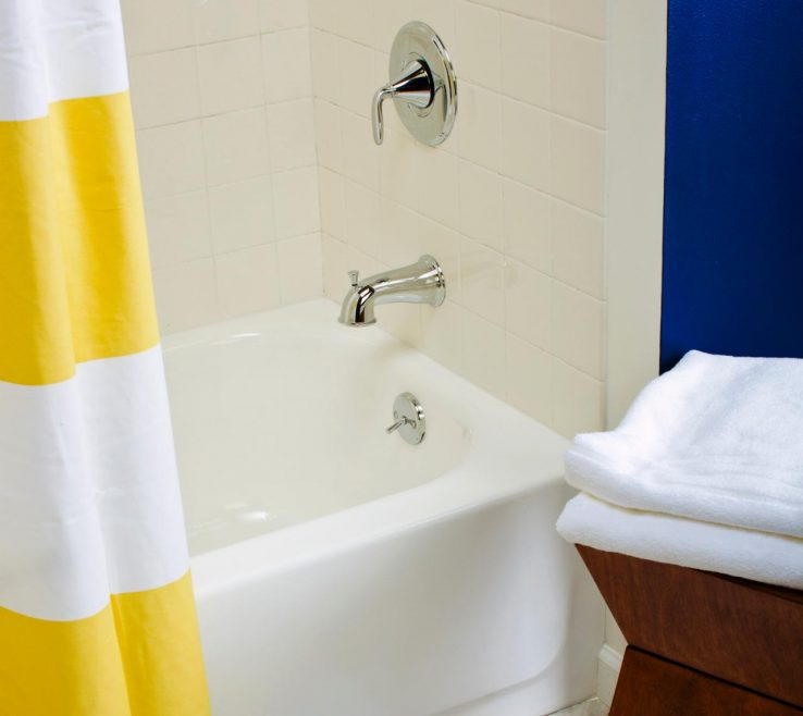 Adorable Yellow Bathroom Paint Ideas Of Ci Rustoleum Painted Bathtub After V