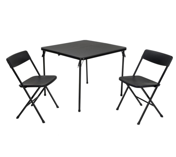 Alluring Collapsible Table And Chairs Of Cosco 3 Piece Black Folding Chair Set