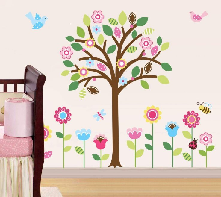 Alluring Flower Wall Decorations Of Conceptreview: Pretty Pastel Garden Giant Peel