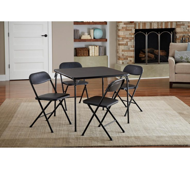 Amazing Collapsible Table And Chairs Of Lovely Cosco 5 Piece Card Set Black