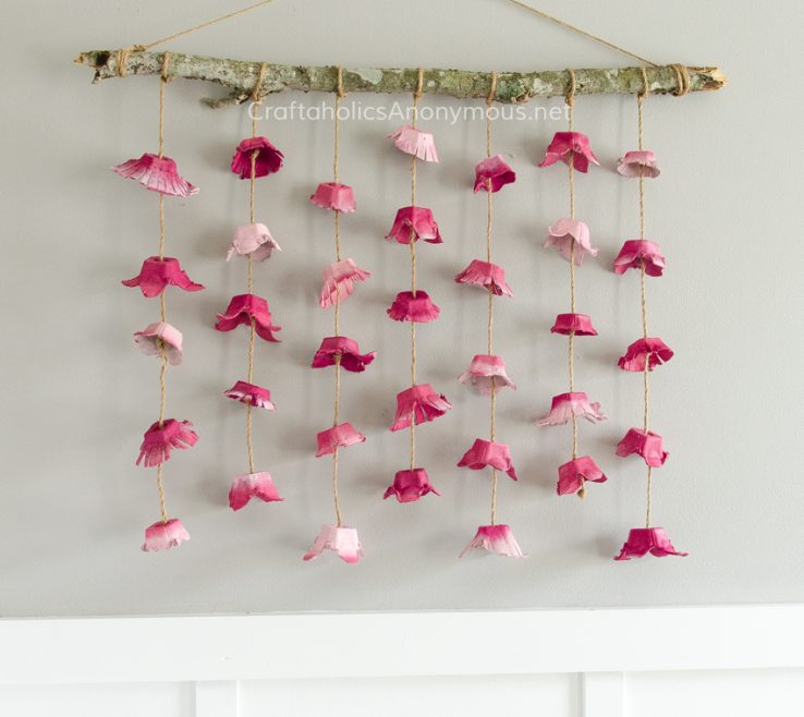 Amazing Flower Wall Decorations Of Boho Hanging Made From Egg Cartons