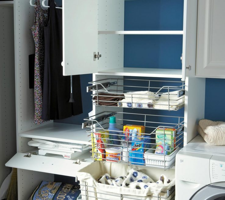 Amazing Laundry Room Organizing Ideas Of Blue With White Ry And Wire Baskets