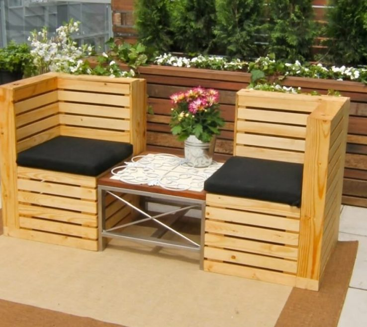 Apartment Balcony Furniture Ideas Of Furniture: Natural Looking With Wooden Deck