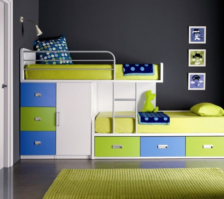 Artistic Beds For Small Spaces Of Fancy Space Saving Bunk Bed Design Inspiration With Small Closet Under Loft Bed And Two Steps Ladder For Small Kids Room
