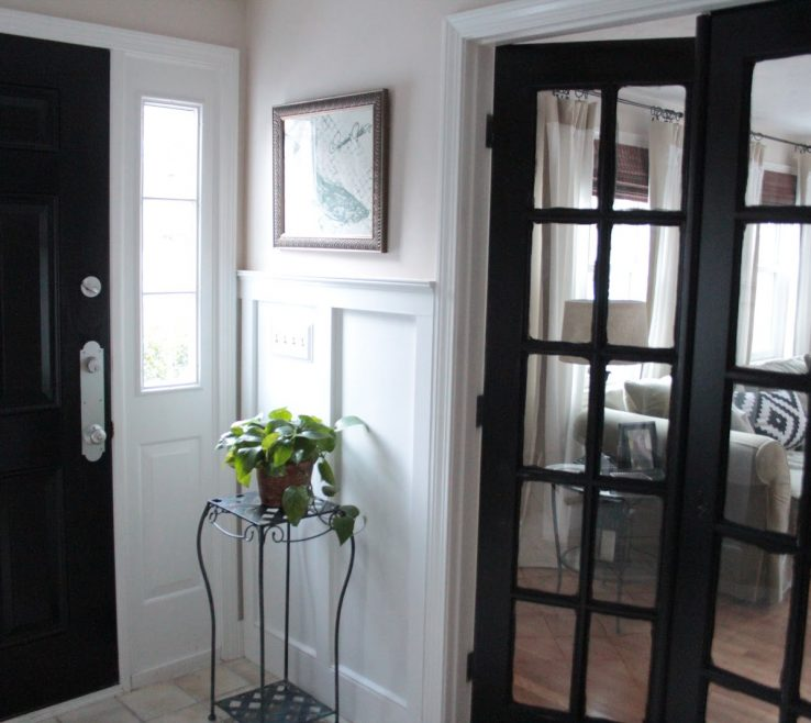 Artistic Black Interior Doors Of White Painted Wall White Painted Glass Door