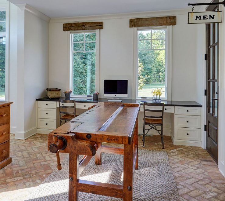 Artistic Built In Home Office Of Home Office Built In Desks Brick Floors Antique Workbench