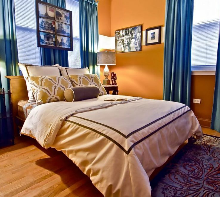 Artistic Curtains With Orange Walls Of Bedroom Blue And Brown Wall Colors Wall