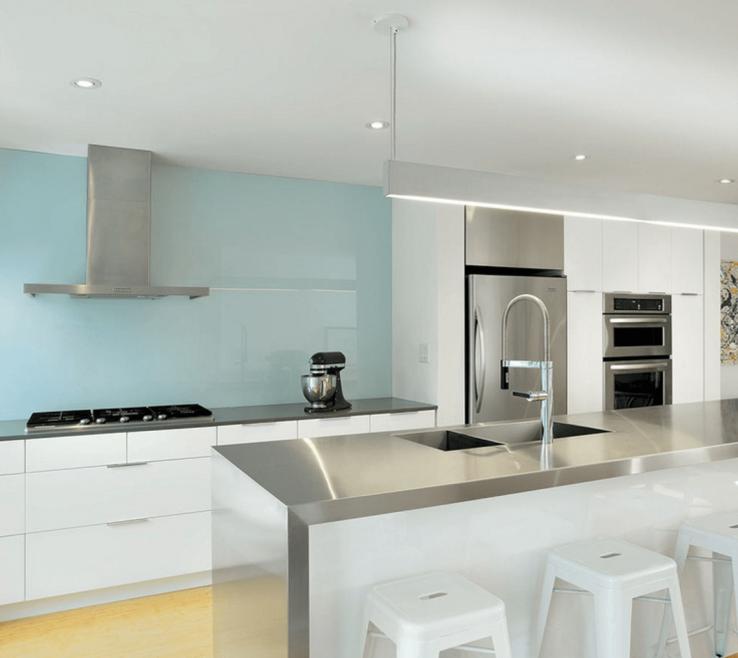 Artistic Designer Kitchen Backsplash Of Light Blue Painted Backsplash Source Contemporary Red