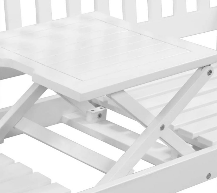 Artistic Garden Bench Table Of Vidaxl With Pop Up Acacia Wood White In