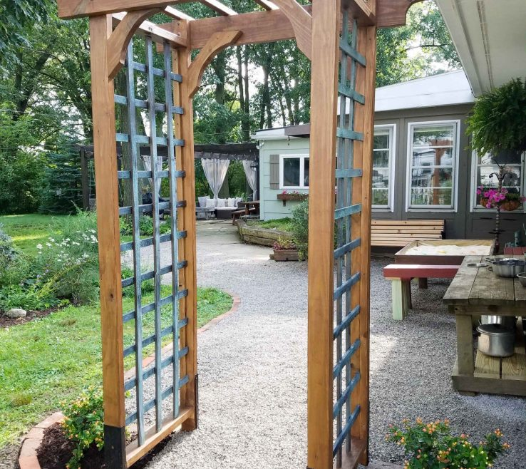 Artistic Outdoor Garden Structures Of Build This Arbor With Faux Patina